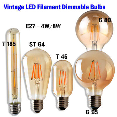 £6.47 • Buy Vintage Edison Light Bulb Industrial LED Filament Dimmable Bulb Squirrel Cage A+