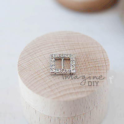 Pack Of 10x Tiny Square Crystal Buckle Embellishment - Diamante, Rhinestone • 3.50£