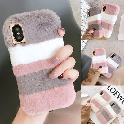 For IPhone XS Max XR 8 7 6 Cute Shockproof Warm Soft Fluffy Faux Fur Case Cover • 5.25£