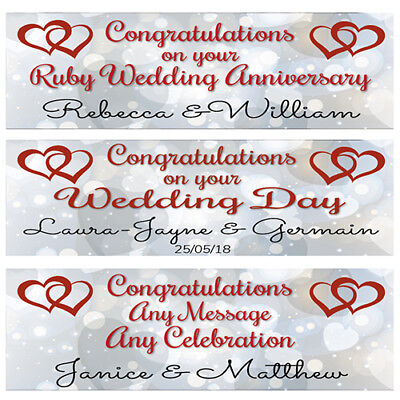2 Personalised Joined Hearts Wedding Banners, Ruby Wedding Anniversary Banners  • 3.99£