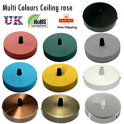 Multi Colour Vintage Industrial Ceiling Rose Light Pendant For Fabric Cable UK • 5.30£