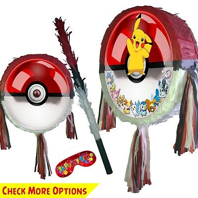 Pokeball Pinata Set Kids Smash Party Fun Stick Pokemon Poke Ball Red Pikachu UK • 15.45£