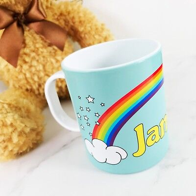 Personalised Rainbow Plastic Mug Children's Birthday Gift Juice Cup Any Name • 10.99£
