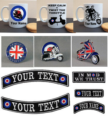 Mod Scooter Name Patches Sew On Badges Personalised Ska Mugs Club • 3.25£