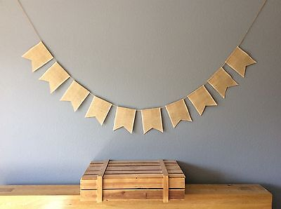 Plain Hessian Bunting Banner, Wedding, Birthday Party. Vintage Hessian Rustic • 8.95£