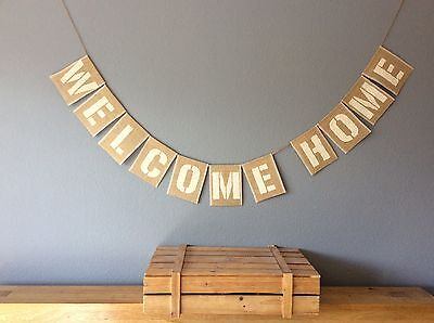 WELCOME HOME Hessian Bunting Banner Vintage Rustic Wedding • 12.50£