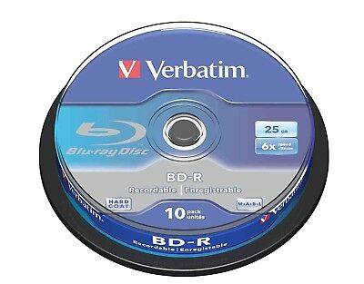 £15.99 • Buy Verbatim BD-R 25GB 6x Speed Recordable Single Layer Blu-ray Disc Spindle Pack 10