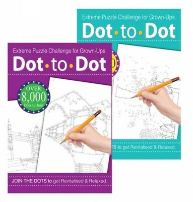 Dot To Dot Extreme Puzzle Drawing Book Challenge For Grown-Ups Adults X 2 Books • 3.95£