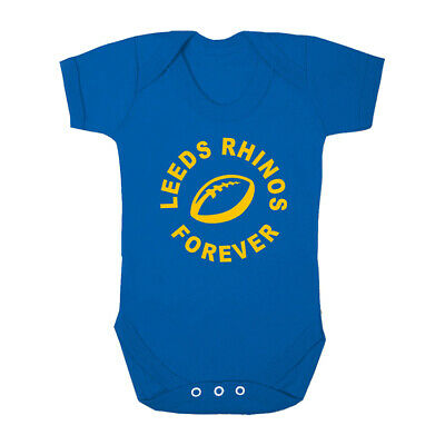 LEEDS RHINOS FOREVER Blue Babygrow Bodysuit Baby Suit Super League Rugby • 7.99£