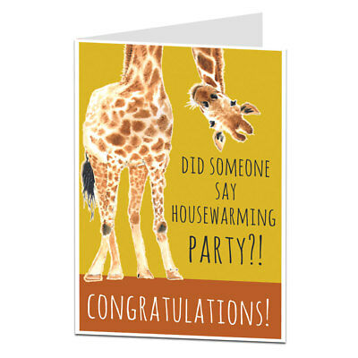 New Home Card Funny Congratulations Quirky Giraffe Theme Housewarming Party! • 2.99£