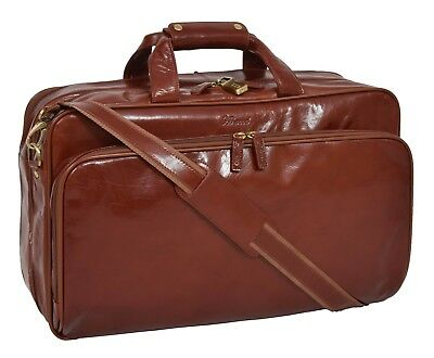 Exclusive Cognac Leather Holdall Suit Carrier Luggage Business Travel Cabin Bag • 229£