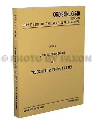 $59 • Buy 1950 1951 1952 Jeep M38 Illustrated Military Parts Book Master Catalog 4x4