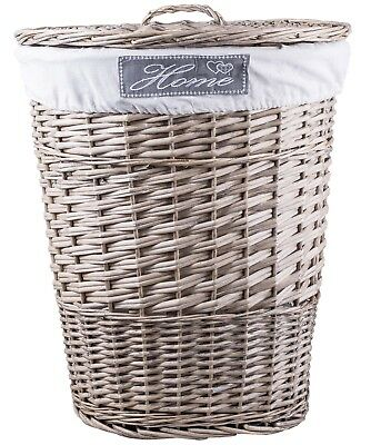 Grey Oval Matt Wicker Laundry Basket Cotton Lining With Lid • 20.99£