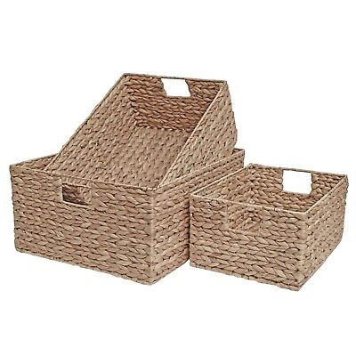 Wicker Drawer Basket Shelf Home Office Storage Natural Water Hyacinth  • 22.99£