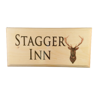 Personalised Pub Name Sign, Stag Plaque Stagger Inn Deer Door House Home Bar • 9.95£