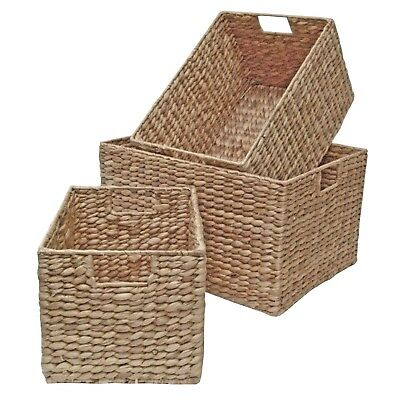 Wicker Storage Basket Shelf Drawer Kitchen Bedroom Living Natural Water Hyacinth • 24.99£