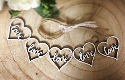 Wooden Hanging Wedding Decoration Rustic White LOVE Hearts 5x Heart With String • 2.99£