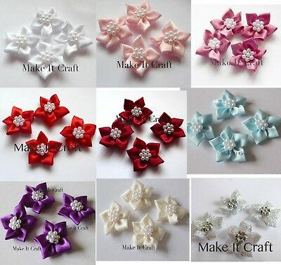 Poinsettia, Star Shaped Satin Ribbon Embellishments For Weddings And Craft • 4.50£