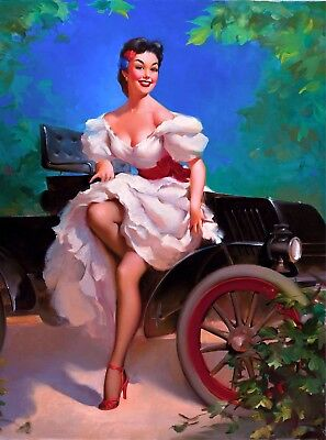 $ CDN9.78 • Buy 1940s Pin-Up Girl Sunday Drive  Picture Poster Print Vintage Pin Up Art