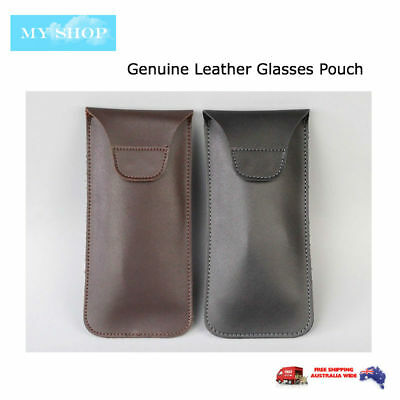 AU19.95 • Buy Premium Genuine Leather Eyeglass Sunglasses Glasses Case Soft Pouch Flap Closure
