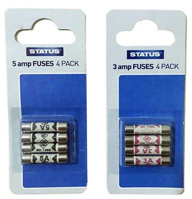 Status Domestic Household Fuses 3 & 5 Amp | Pack Of 4 - 3amp | Pack Of 4 - 5amp. • 1.80£