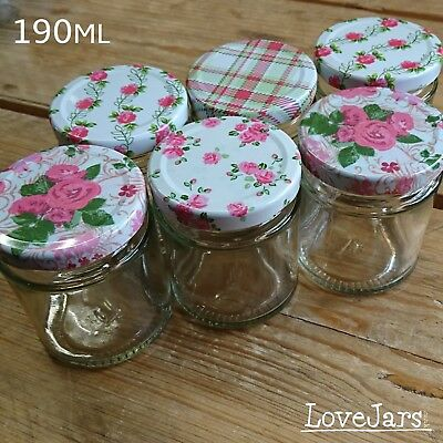 8oz 190ml Glass Jam Jars Round With Summer Frocks Floral Rose Flowers Plaid Lids • 9.95£