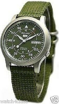 $ CDN130.06 • Buy NEW SEIKO 5 SNK805K2 AUTOMATIC Military WATCH (CAL.7S26C) Green Face Nylon Strap