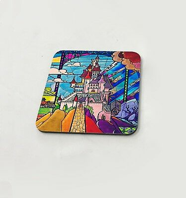 Disney Castle Stained Glass Colorful Cup Coasters Dining Table Cork Board • 3.99£