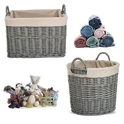 Home Storage Grey Painted Wicker Basket Laundry Toys Baby Nursery Collection Box • 16.14£