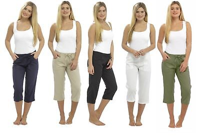 Ladies Linen Cropped Trousers Womens 3/4 Length Shorts UK Size 10 12 14 16 18 20 • 13.99£