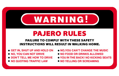 AU6.50 • Buy Warning Rules Pajero Series 4WD 4x4 Vehicles Decal Stickers