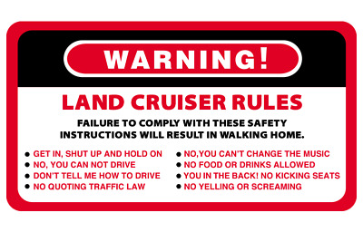 AU6.50 • Buy Warning Land Cruiser Rules Series 4WD 4x4 Vehicles Decal Stickers