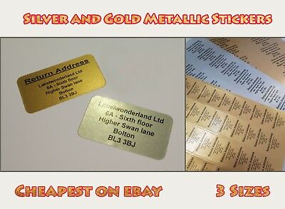 £2.85 • Buy Personalised Printed Sticky Address Labels White Gold Silver Metallic  Stickers