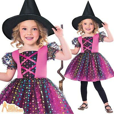 Girls Witch Costume Rainbow Child Halloween Tutu Fancy Dress Outfit Toddler Kids • 9.99£