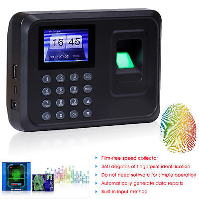 Clocking In System Attendance Machine Fingerprint ID Card Time Recorder • 49.89£
