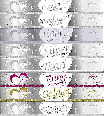 9ft SILVER & WHITE WEDDING / ANNIVERSARY BANNERS 27cm  IDEAL PARTY DECORATIONS • 1.90£