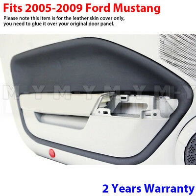 $32.76 • Buy Fits 05-09 Ford Mustang Leather Door Panel Insert Replacement Cover 2pcs Black