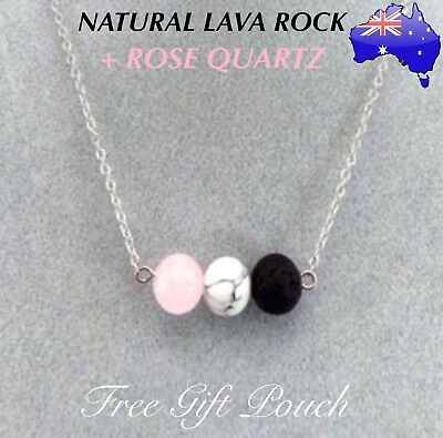 AU12.50 • Buy Natural Lava Rock Rose Quartz Stone Aromatherapy Essential Oil Diffuser Necklace