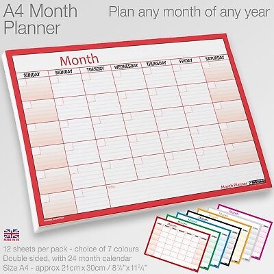 MONTH PLANNER Desk / Wall A4 Monthly Planner Double Sided Inc. 4 Year Calendar • 2.49£