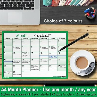 £2.99 • Buy MONTH PLANNER Desk / Wall A4 Monthly Planner Double Sided ✔Home ✔Office ✔GREEN
