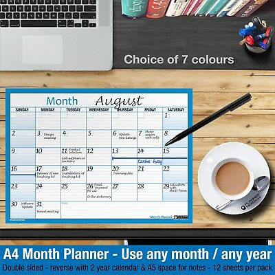 £2.99 • Buy MONTH PLANNER Desk / Wall A4 Monthly Planner Double Sided ✔Home ✔Office ✔BLUE