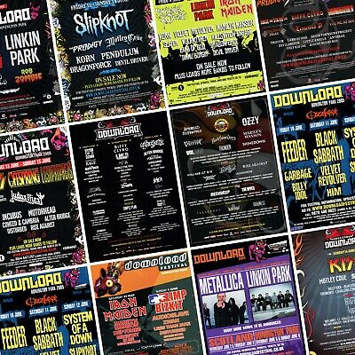 DOWNLOAD FESTIVAL Line Up Posters PHOTO Print POSTER Donnington 2003-Present • 14.99£