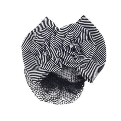 Striped Fabric Bow And Flower French Barrette Snood Hair Clip  Black White  • 5.95£