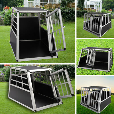 View Details Lockable Metal Dog Kennel Large Small Pet Cage Puppy Cat Travel Crate Carrier UK • 55.95£