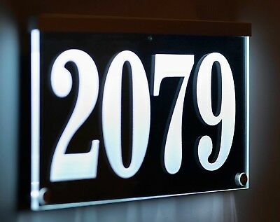 12-16V AC Illuminated Address Sign Plaque House Numbers LED Lighted, Auto On/Off • 78.03£