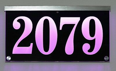 12V DC Illuminated Address Sign Plaque House Numbers LED Lighted, Auto On/Off • 93.78£
