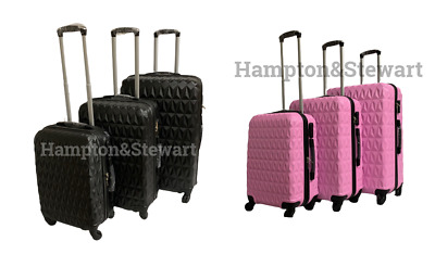 Black Pink Hard Shell 4 Wheel Spinner Suitcase Luggage Trolley Case Bag In S,M,L • 74.99£