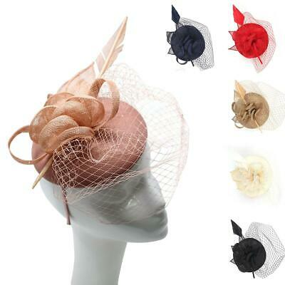 Wedding Races Party Fascinator Veil Net Flower Hat With Feather Hatinator • 11.99£