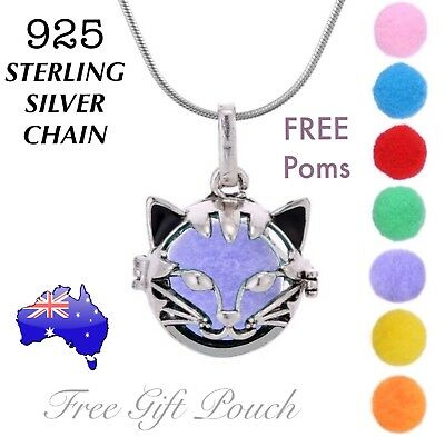 AU11.95 • Buy CAT Aromatherapy Essential Oil Diffuser Locket 925 Sterling Silver Necklace Gift