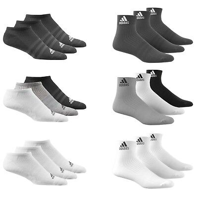 AU15.81 • Buy Adidas Socks 3 Pairs Mens Womens Cotton Ankle Liner Quarter Sports Sizes UK 2-14